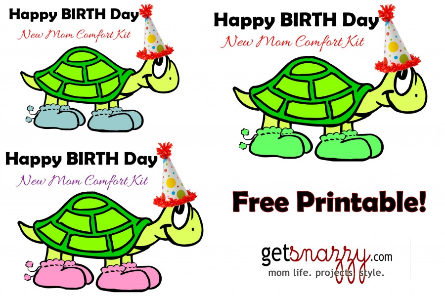 Free Printable - Click for Google Docs- Happy BIRTH Day getSNAZZY.com New Mom Comfort Kit Hospital Survival Birthing Center Bag