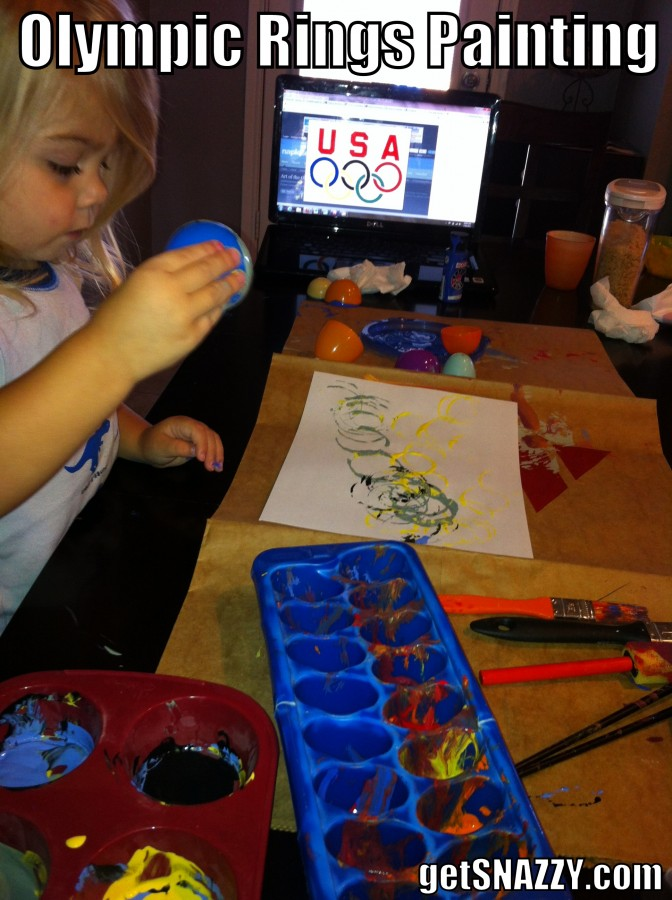 Olympics Rings Easy Toddler Activity - Painting with Easter Eggs