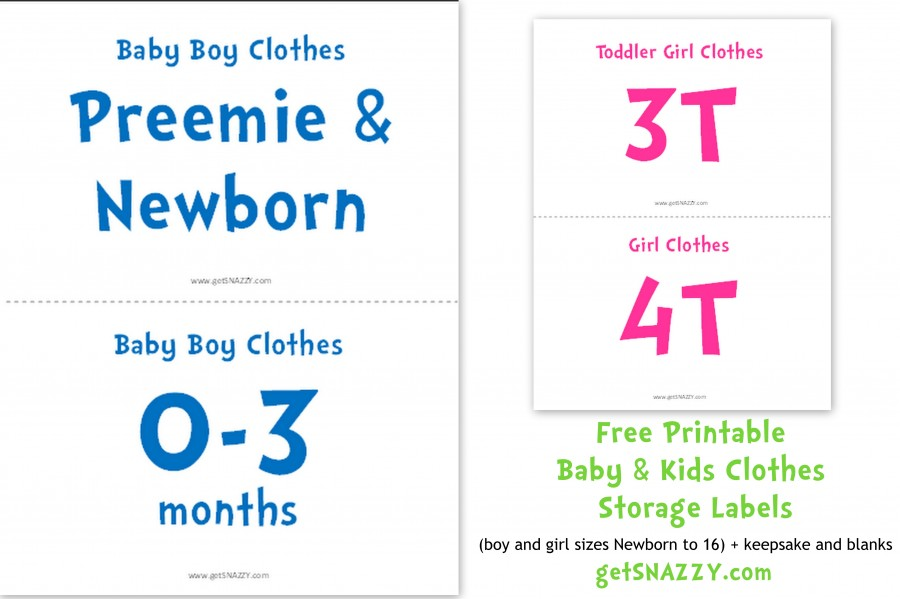 Baby Clothes Size Signs for storage or garage sale getSNAZZY kids clothes labels