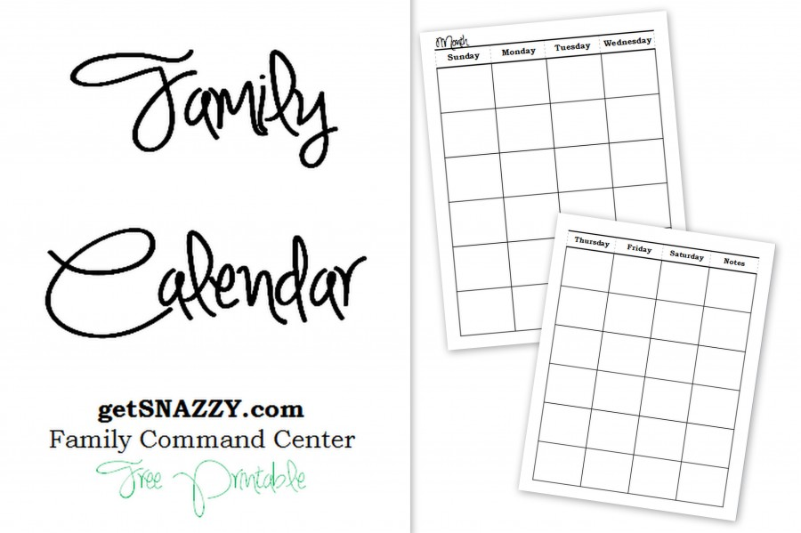 Blank Family Calendar - Organize - Command Center - getSNAZZY