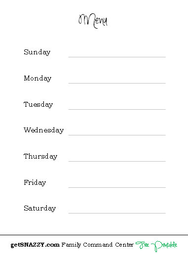 picture relating to Blank Printable Menu known as Every day Weekly Regular monthly Cleansing and Residence List getSNAZZY