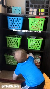 Dollar Store Bins for Supplies or Snacks Kitchen Organization getSNAZZY