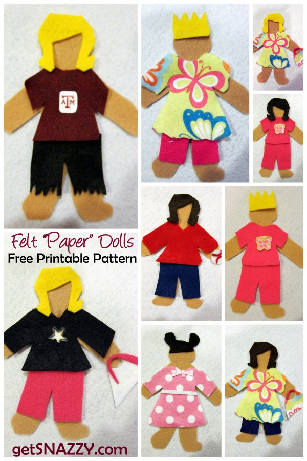 Felt Paper Dolls   EASY DIY Quiet Activity For Kids  Free Printable