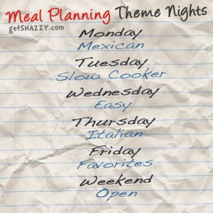 Menu List Meal Planning Theme Nights getSNAZZY