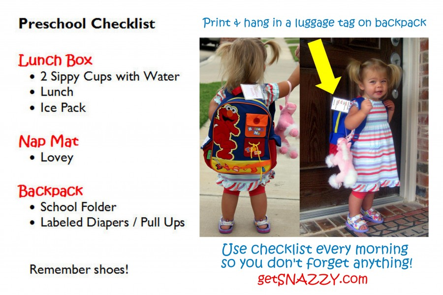 School Bag Checklist on preschool backpack - morning routine - before school luggage tag - getSNAZZY