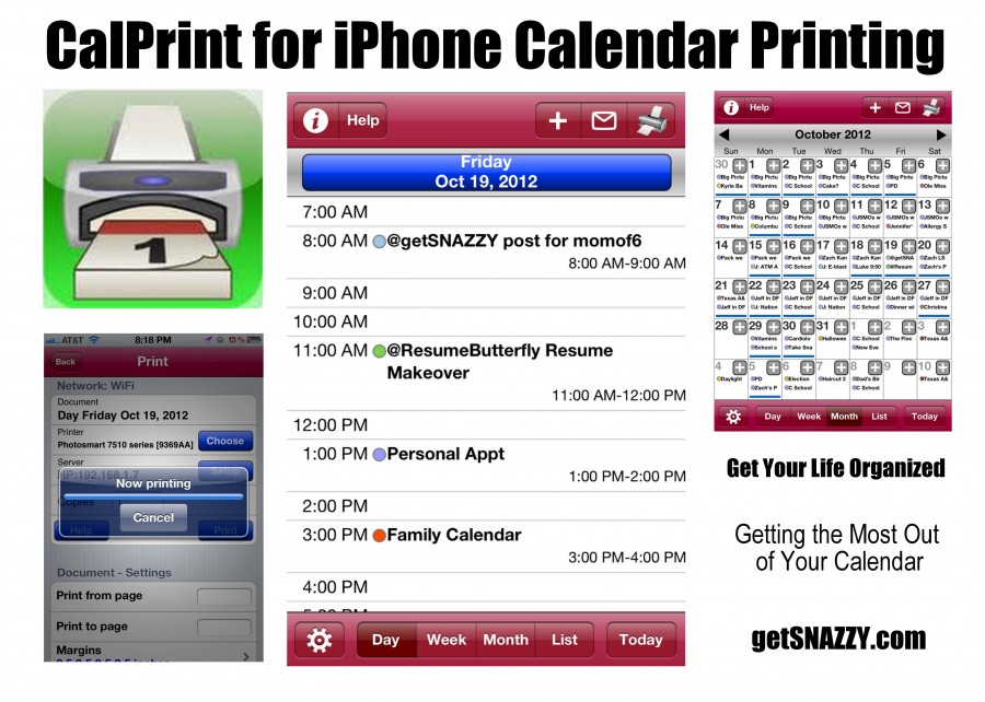 calprint iphone app - calendar organization - print iphone calendar - day - get organized boot camp - momof6 - getSNAZZY