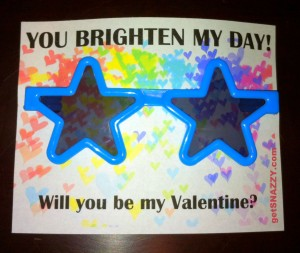 Free Valentine Card Printable for Kids - Sunglasses Valentine You Brighten My Day - getSNAZZY