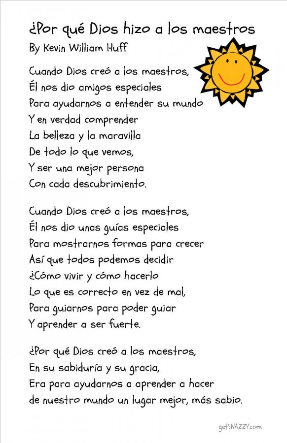 Free Printable Why God Made Teachers Poem in Spanish Teacher Gift getSNAZZY