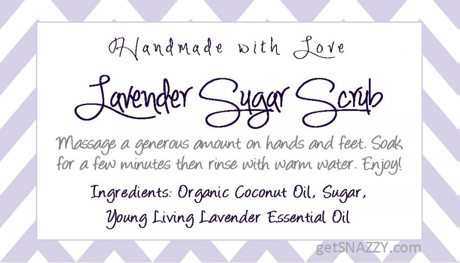 image relating to Printable Sugar Scrub Labels named Free of charge Printable Lavender Sugar Scrub Straightforward Do-it-yourself Reward